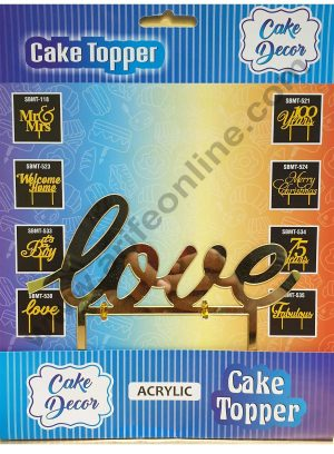Cake Decor Mirror Shimmer Shining  Acrylic Cake Topper Love
