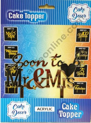 Cake Decor Mirror Shimmer Shining  Acrylic Cake Topper Soon To Be Mr and Mrs