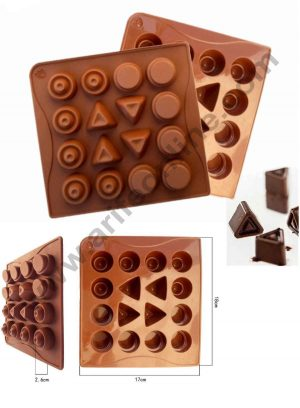 16 cavity Geometric Shapes Circular Triangles Chocolate Silicone Mould