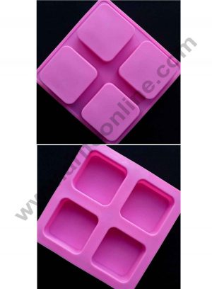 4 Cavity square Silicone Soap Mould SBSOM-025